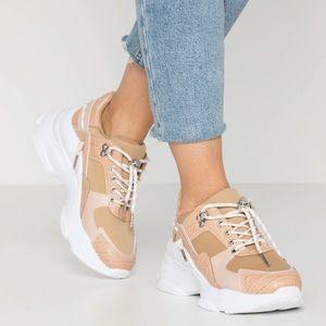 RAID Ibiza chunky sneakers in beige snake